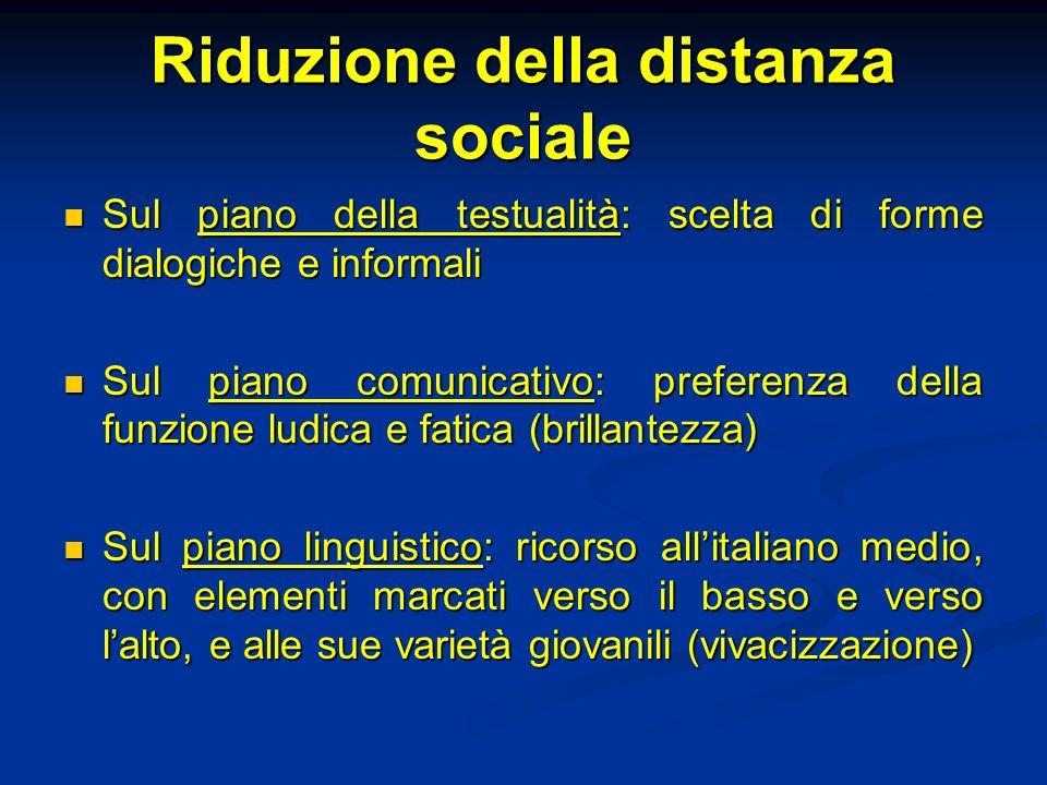 Riduzione della distanza sociale Sul piano della testualità: scelta di forme dialogiche e informali Sul piano della testualità: scelta di forme dialog