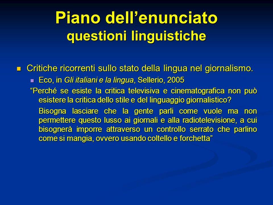 Piano dellenunciato questioni linguistiche Critiche ricorrenti sullo stato della lingua nel giornalismo. Critiche ricorrenti sullo stato della lingua