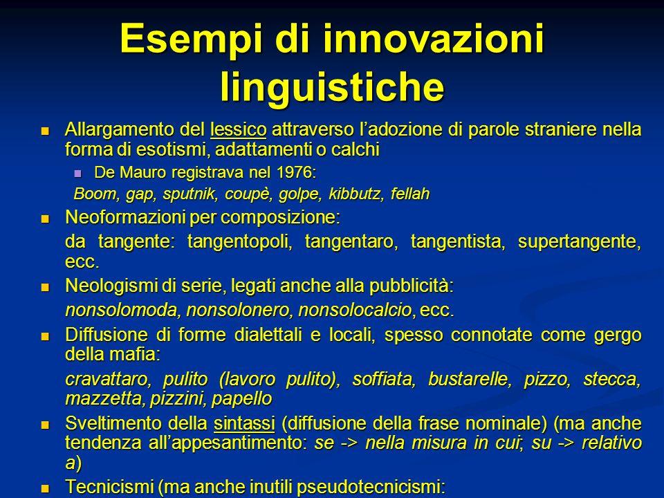Esempi di innovazioni linguistiche Allargamento del lessico attraverso ladozione di parole straniere nella forma di esotismi, adattamenti o calchi All
