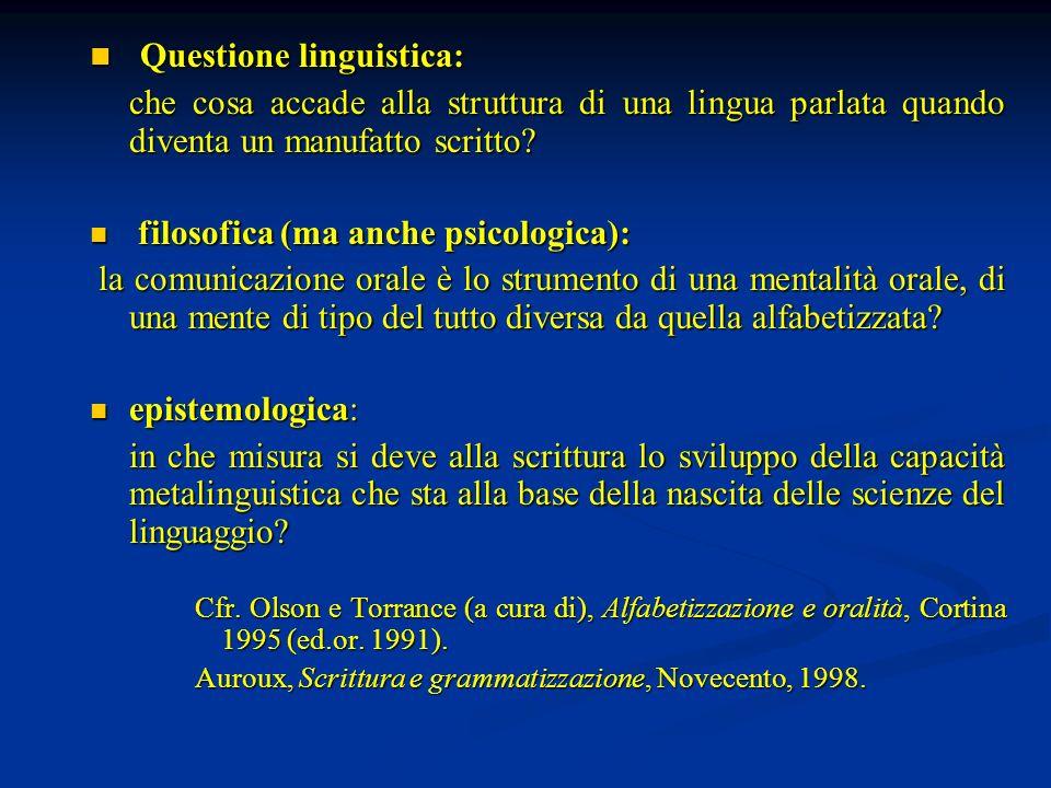 Questione linguistica: Questione linguistica: che cosa accade alla struttura di una lingua parlata quando diventa un manufatto scritto? filosofica (ma