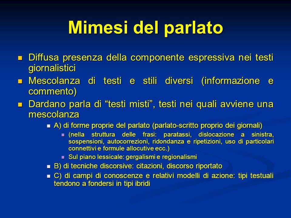 Mimesi del parlato Diffusa presenza della componente espressiva nei testi giornalistici Diffusa presenza della componente espressiva nei testi giornal