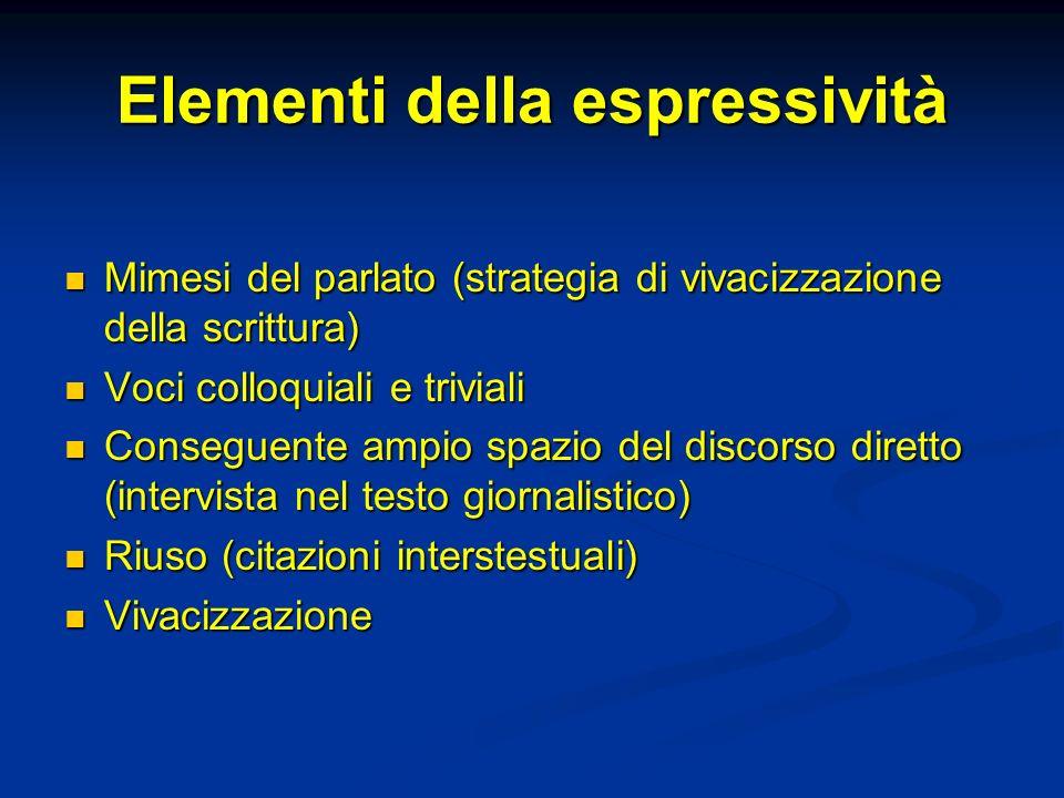 Elementi della espressività Mimesi del parlato (strategia di vivacizzazione della scrittura) Mimesi del parlato (strategia di vivacizzazione della scr