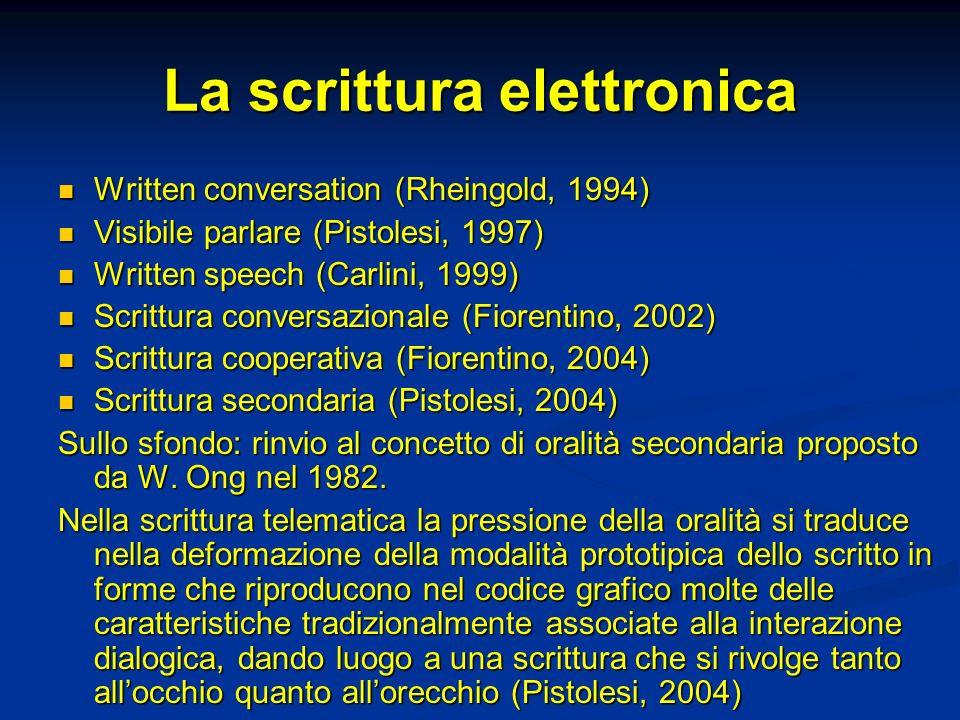 La scrittura elettronica Written conversation (Rheingold, 1994) Written conversation (Rheingold, 1994) Visibile parlare (Pistolesi, 1997) Visibile par