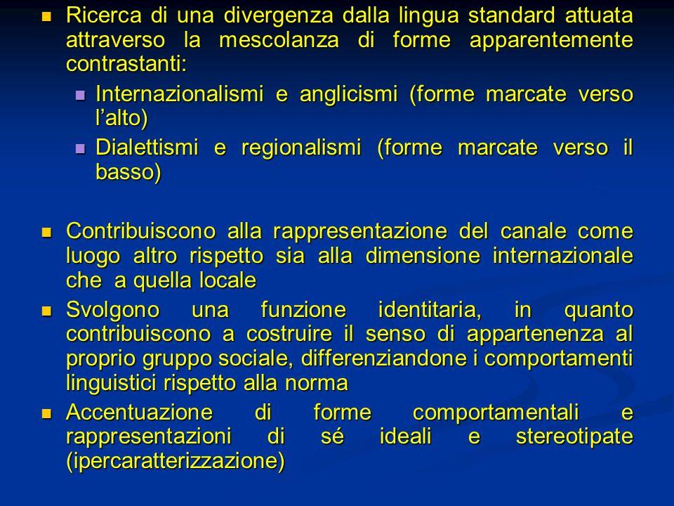 Ricerca di una divergenza dalla lingua standard attuata attraverso la mescolanza di forme apparentemente contrastanti: Ricerca di una divergenza dalla