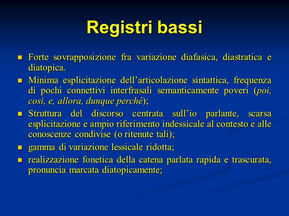 Registri bassi Forte sovrapposizione fra variazione diafasica, diastratica e diatopica. Forte sovrapposizione fra variazione diafasica, diastratica e