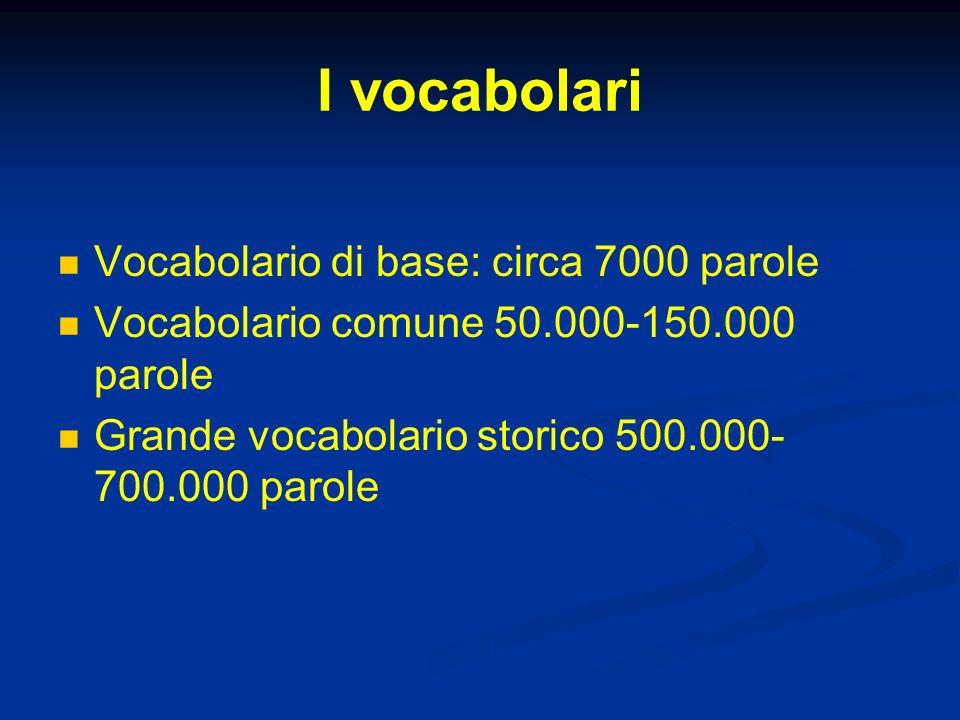 I vocabolari Vocabolario di base: circa 7000 parole Vocabolario comune 50.000-150.000 parole Grande vocabolario storico 500.000- 700.000 parole