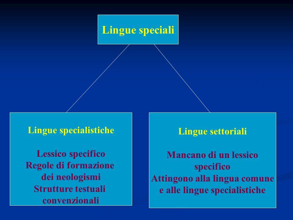 Lingue speciali Lingue specialistiche Lessico specifico Regole di formazione dei neologismi Strutture testuali convenzionali Lingue settoriali Mancano