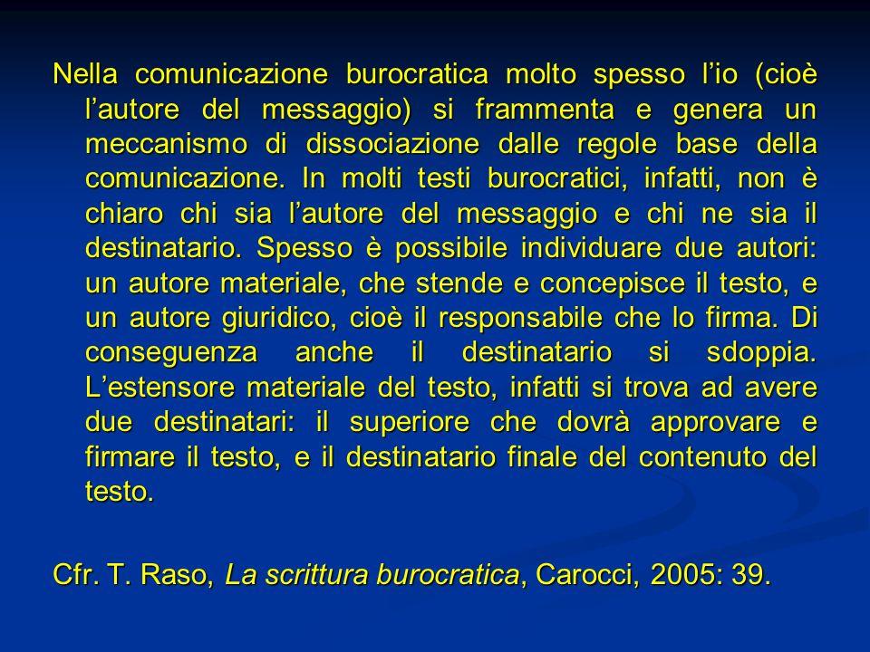 Nella comunicazione burocratica molto spesso lio (cioè lautore del messaggio) si frammenta e genera un meccanismo di dissociazione dalle regole base d