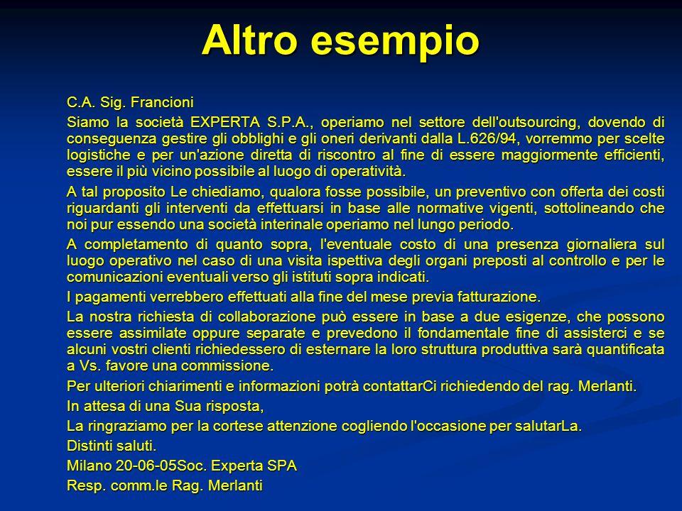 Altro esempio C.A. Sig. Francioni Siamo la società EXPERTA S.P.A., operiamo nel settore dell'outsourcing, dovendo di conseguenza gestire gli obblighi