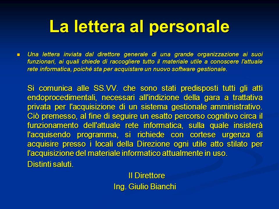 La lettera al personale Una lettera inviata dal direttore generale di una grande organizzazione ai suoi funzionari, ai quali chiede di raccogliere tut
