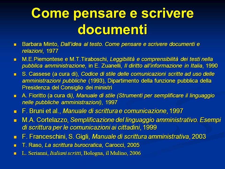 Come pensare e scrivere documenti Barbara Minto, Dallidea al testo. Come pensare e scrivere documenti e relazioni, 1977 Barbara Minto, Dallidea al tes