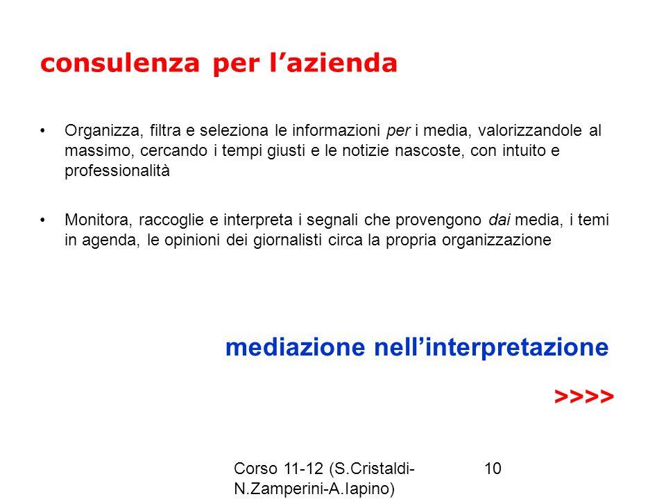 Corso 11-12 (S.Cristaldi- N.Zamperini-A.Iapino) 10 consulenza per lazienda Organizza, filtra e seleziona le informazioni per i media, valorizzandole a