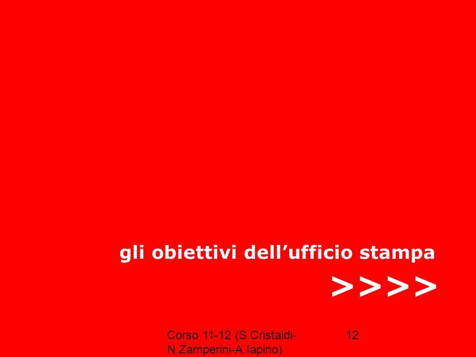 Corso 11-12 (S.Cristaldi- N.Zamperini-A.Iapino) 12 >>>> gli obiettivi dellufficio stampa