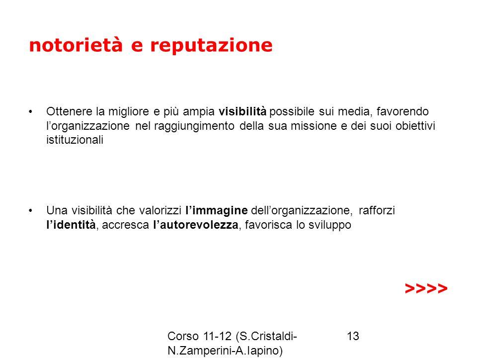 Corso 11-12 (S.Cristaldi- N.Zamperini-A.Iapino) 13 notorietà e reputazione Ottenere la migliore e più ampia visibilità possibile sui media, favorendo
