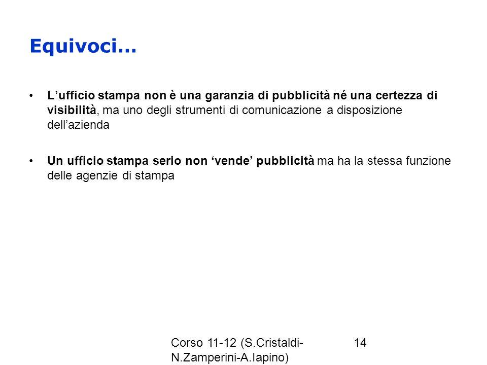 Corso 11-12 (S.Cristaldi- N.Zamperini-A.Iapino) 14 Equivoci… Lufficio stampa non è una garanzia di pubblicità né una certezza di visibilità, ma uno de