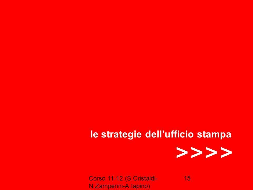 Corso 11-12 (S.Cristaldi- N.Zamperini-A.Iapino) 15 >>>> le strategie dellufficio stampa