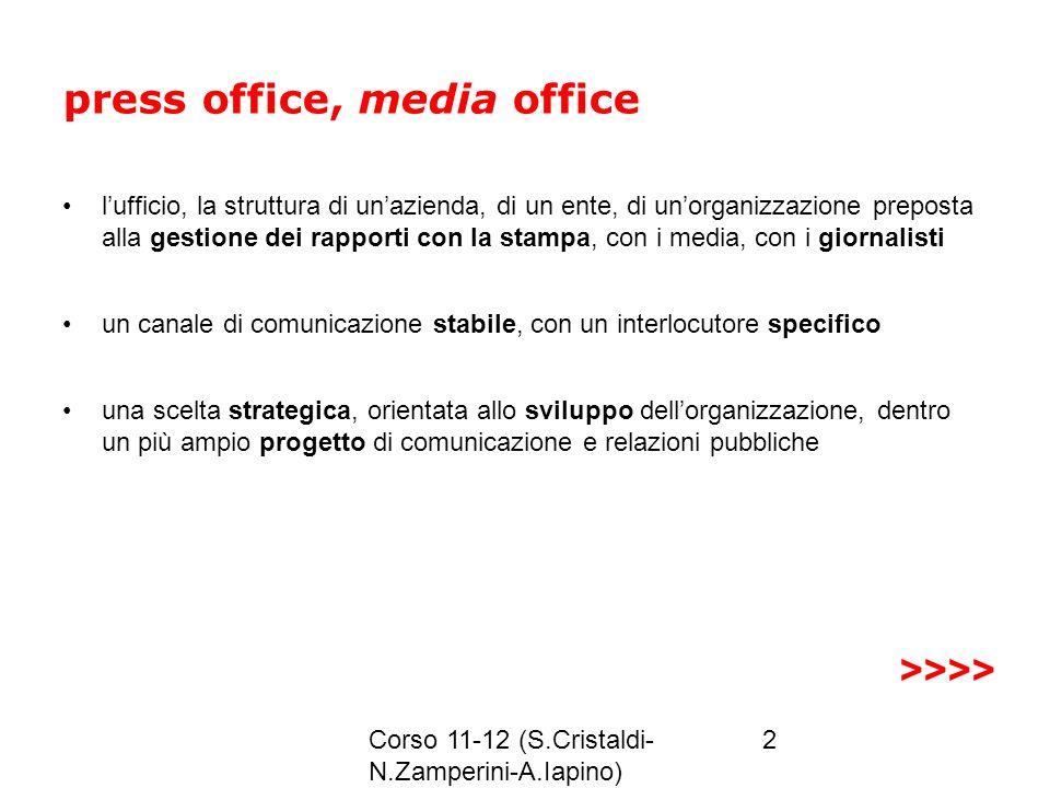 Corso 11-12 (S.Cristaldi- N.Zamperini-A.Iapino) 2 press office, media office lufficio, la struttura di unazienda, di un ente, di unorganizzazione prep