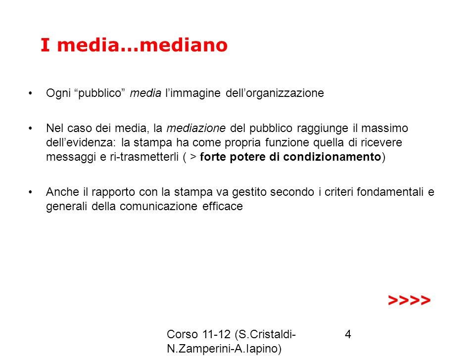 Corso 11-12 (S.Cristaldi- N.Zamperini-A.Iapino) 4 I media…mediano Ogni pubblico media limmagine dellorganizzazione Nel caso dei media, la mediazione d