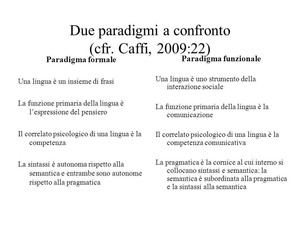 Due paradigmi a confronto (cfr. Caffi, 2009:22) Paradigma formale Una lingua è un insieme di frasi La funzione primaria della lingua è lespressione de