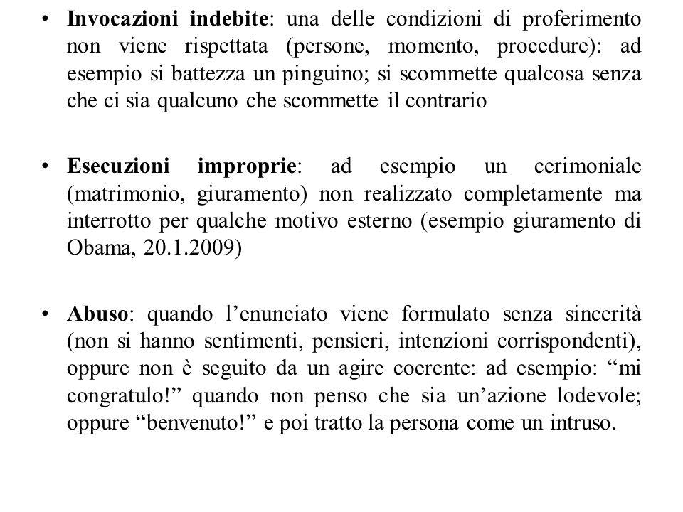Invocazioni indebite: una delle condizioni di proferimento non viene rispettata (persone, momento, procedure): ad esempio si battezza un pinguino; si