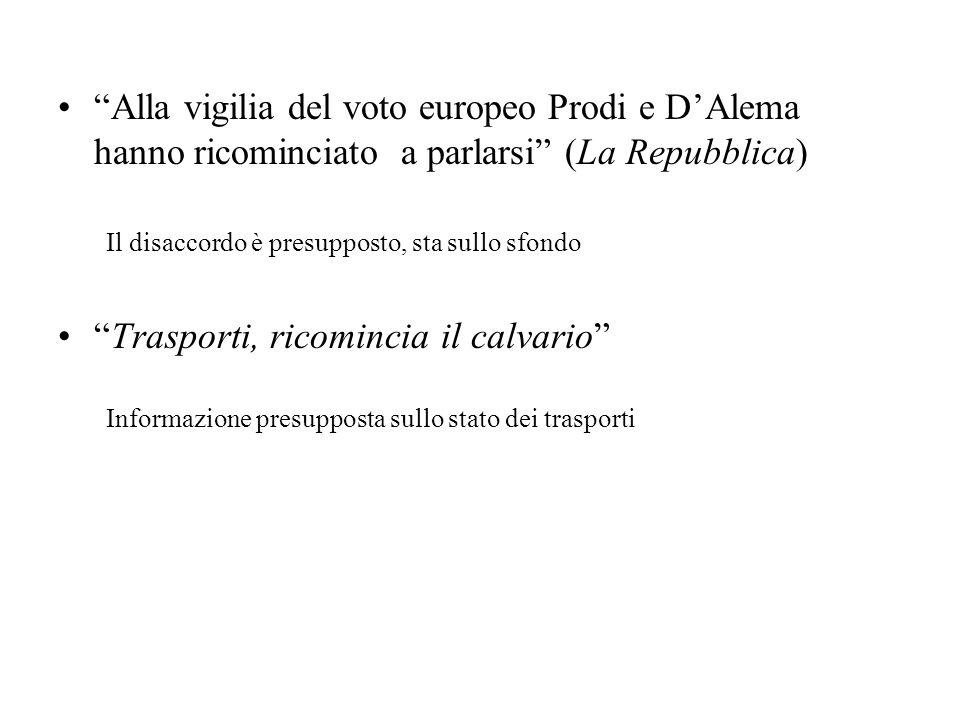 Alla vigilia del voto europeo Prodi e DAlema hanno ricominciato a parlarsi (La Repubblica) Il disaccordo è presupposto, sta sullo sfondo Trasporti, ri