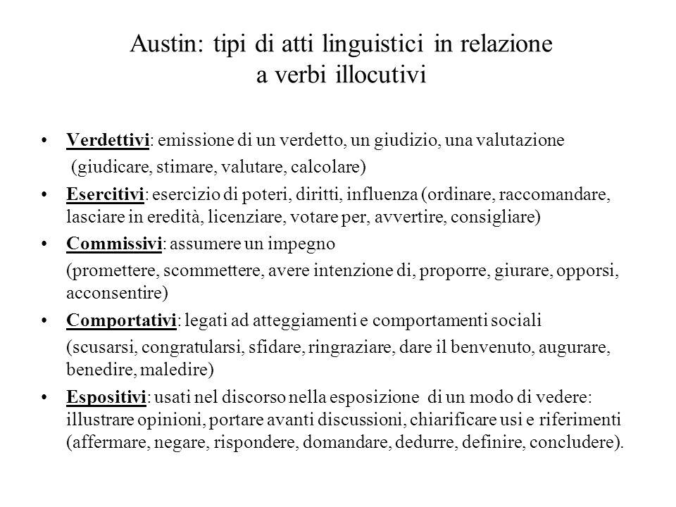Austin: tipi di atti linguistici in relazione a verbi illocutivi Verdettivi: emissione di un verdetto, un giudizio, una valutazione (giudicare, stimar
