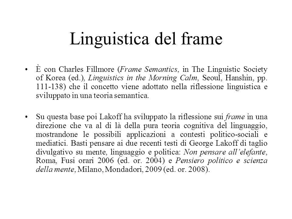 Linguistica del frame È con Charles Fillmore (Frame Semantics, in The Linguistic Society of Korea (ed.), Linguistics in the Morning Calm, Seoul, Hansh