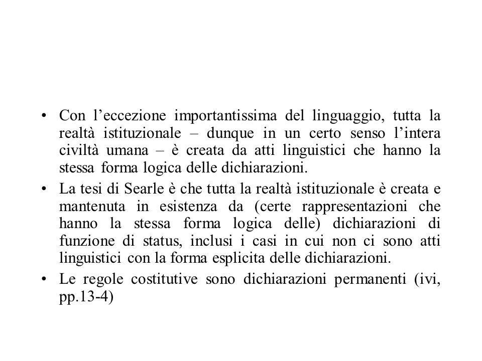Con leccezione importantissima del linguaggio, tutta la realtà istituzionale – dunque in un certo senso lintera civiltà umana – è creata da atti lingu