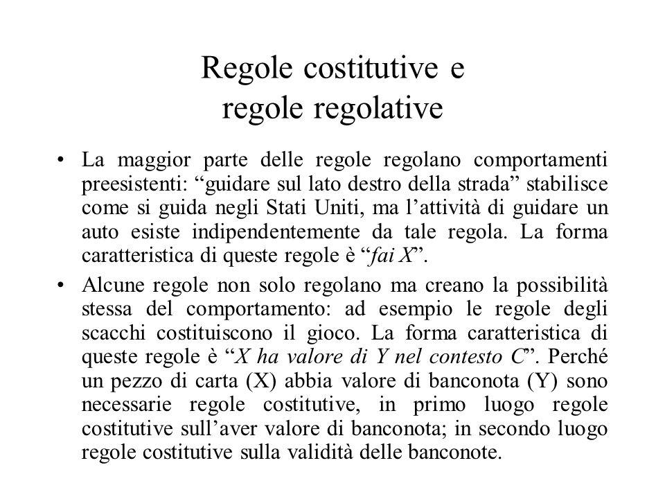 Regole costitutive e regole regolative La maggior parte delle regole regolano comportamenti preesistenti: guidare sul lato destro della strada stabili