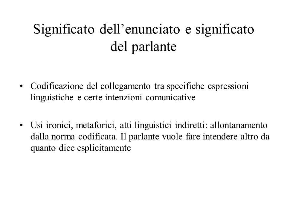 Significato dellenunciato e significato del parlante Codificazione del collegamento tra specifiche espressioni linguistiche e certe intenzioni comunic