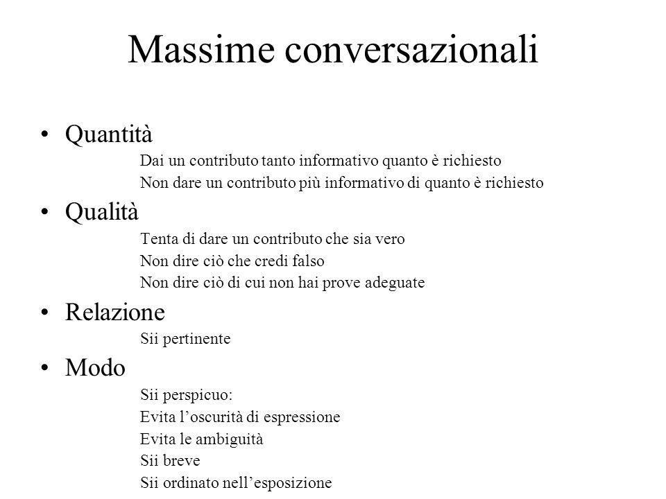 Massime conversazionali Quantità Dai un contributo tanto informativo quanto è richiesto Non dare un contributo più informativo di quanto è richiesto Q