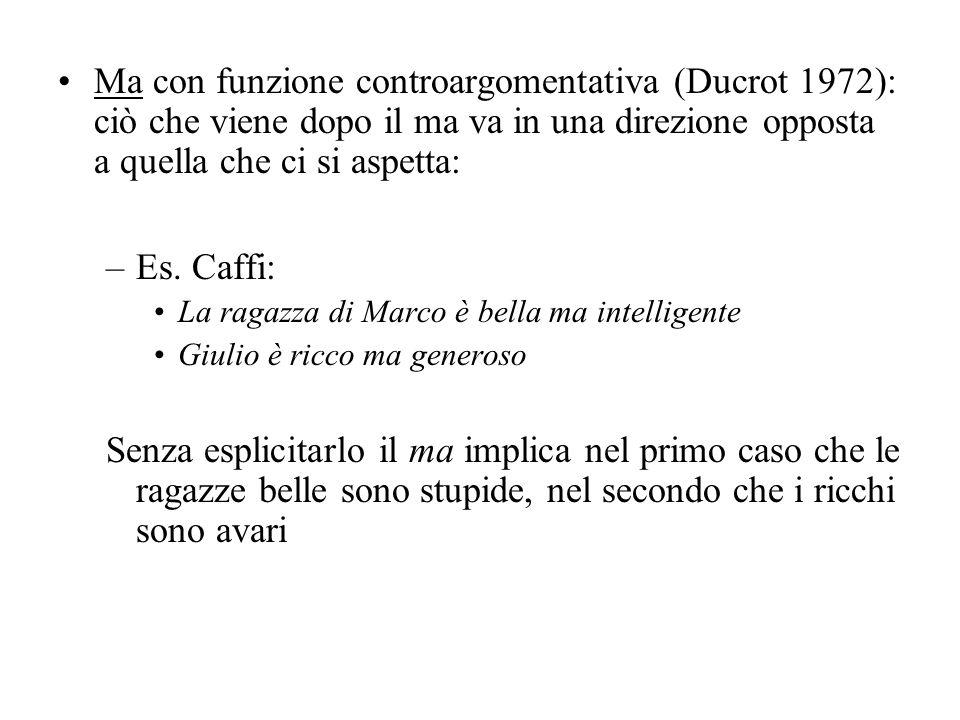 Ma con funzione controargomentativa (Ducrot 1972): ciò che viene dopo il ma va in una direzione opposta a quella che ci si aspetta: –Es. Caffi: La rag