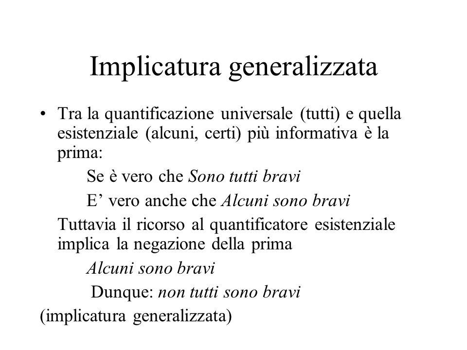 Implicatura generalizzata Tra la quantificazione universale (tutti) e quella esistenziale (alcuni, certi) più informativa è la prima: Se è vero che So