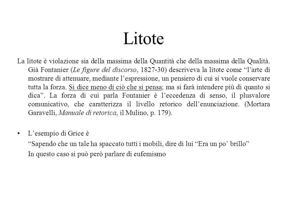 Litote La litote è violazione sia della massima della Quantità che della massima della Qualità. Già Fontanier (Le figure del discorso, 1827-30) descri