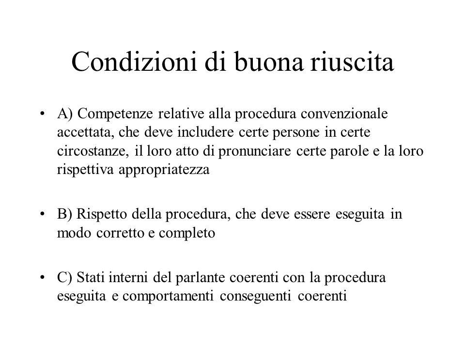 Condizioni di buona riuscita A) Competenze relative alla procedura convenzionale accettata, che deve includere certe persone in certe circostanze, il