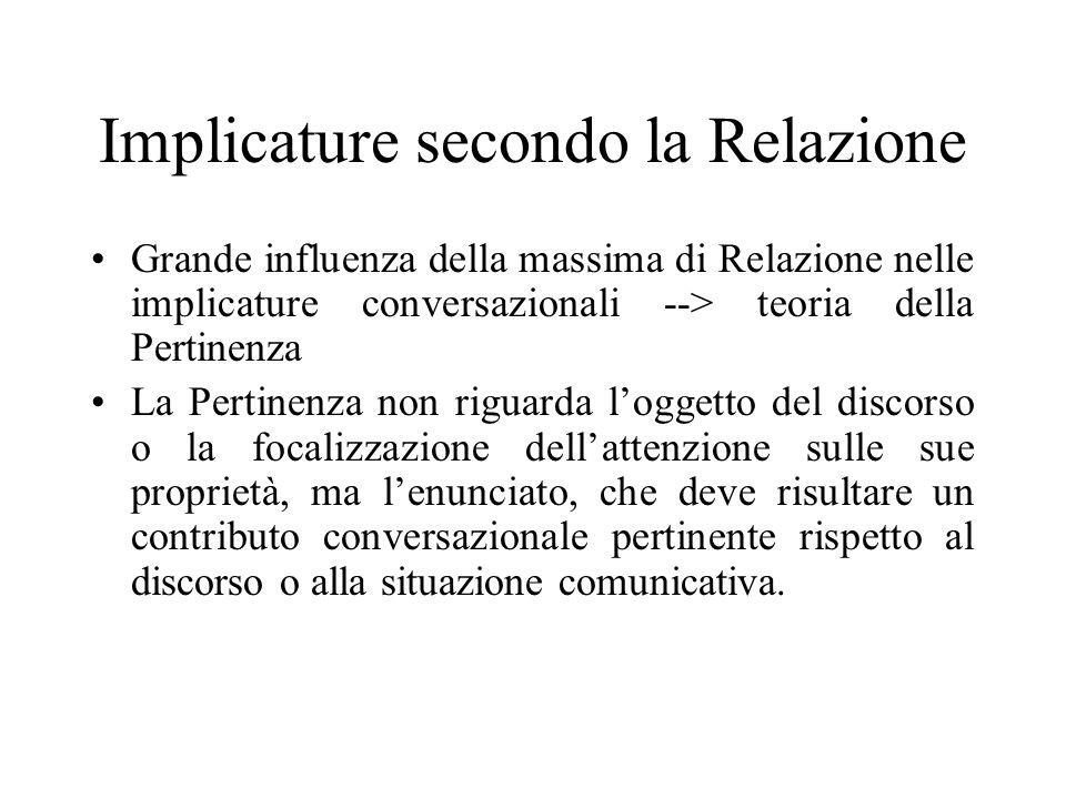 Implicature secondo la Relazione Grande influenza della massima di Relazione nelle implicature conversazionali --> teoria della Pertinenza La Pertinen