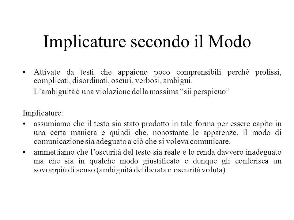 Implicature secondo il Modo Attivate da testi che appaiono poco comprensibili perché prolissi, complicati, disordinati, oscuri, verbosi, ambigui. Lamb