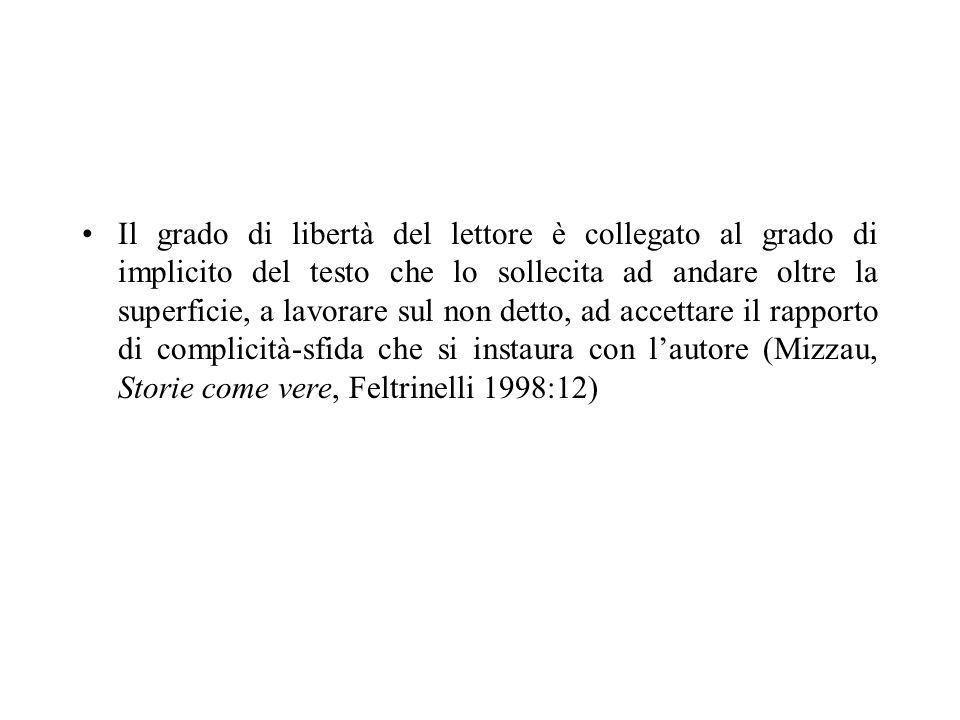 Il grado di libertà del lettore è collegato al grado di implicito del testo che lo sollecita ad andare oltre la superficie, a lavorare sul non detto,