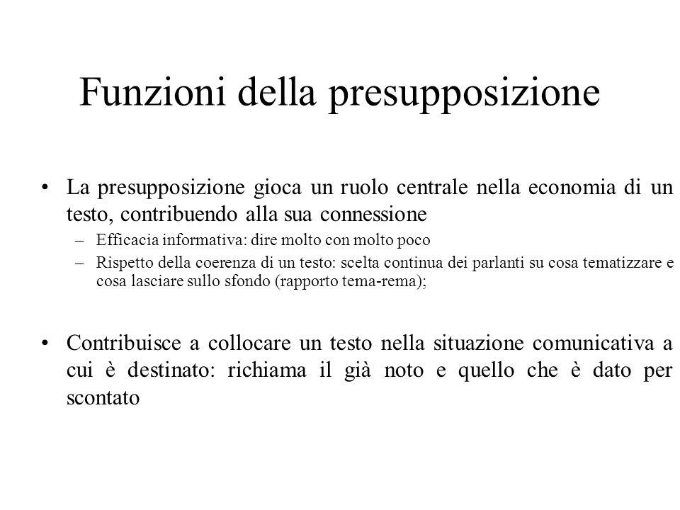 Funzioni della presupposizione La presupposizione gioca un ruolo centrale nella economia di un testo, contribuendo alla sua connessione –Efficacia inf