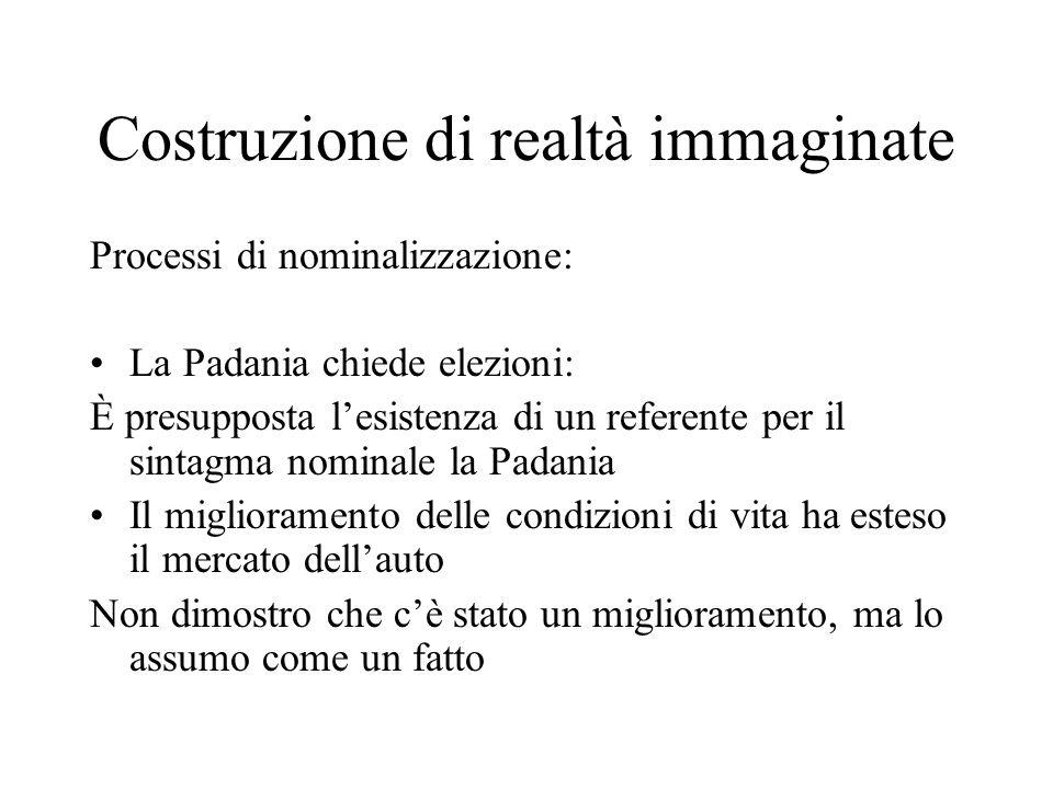 Costruzione di realtà immaginate Processi di nominalizzazione: La Padania chiede elezioni: È presupposta lesistenza di un referente per il sintagma no