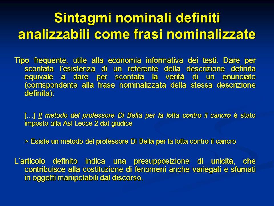 Sintagmi nominali definiti analizzabili come frasi nominalizzate Tipo frequente, utile alla economia informativa dei testi. Dare per scontata lesisten
