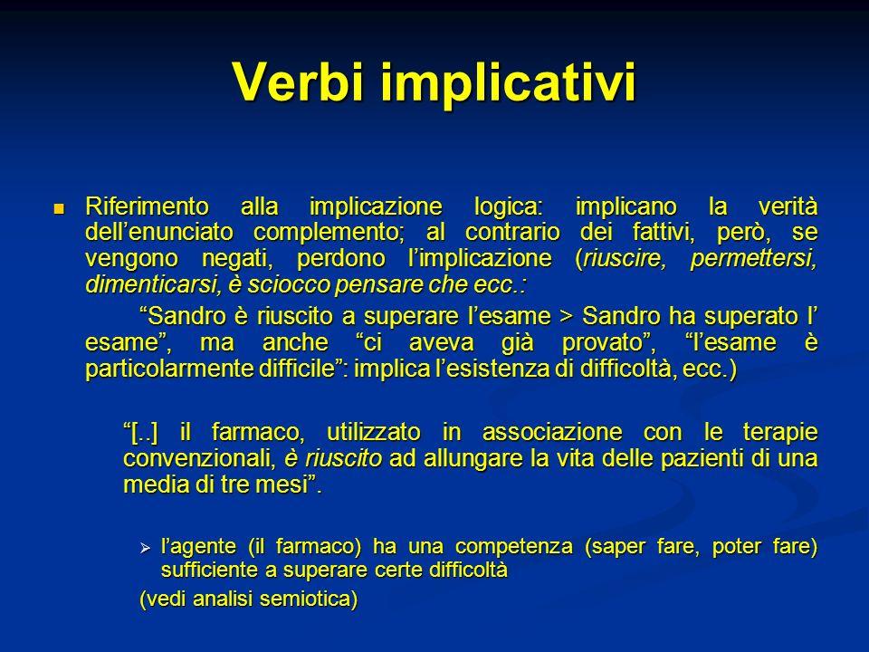 Verbi implicativi Riferimento alla implicazione logica: implicano la verità dellenunciato complemento; al contrario dei fattivi, però, se vengono nega