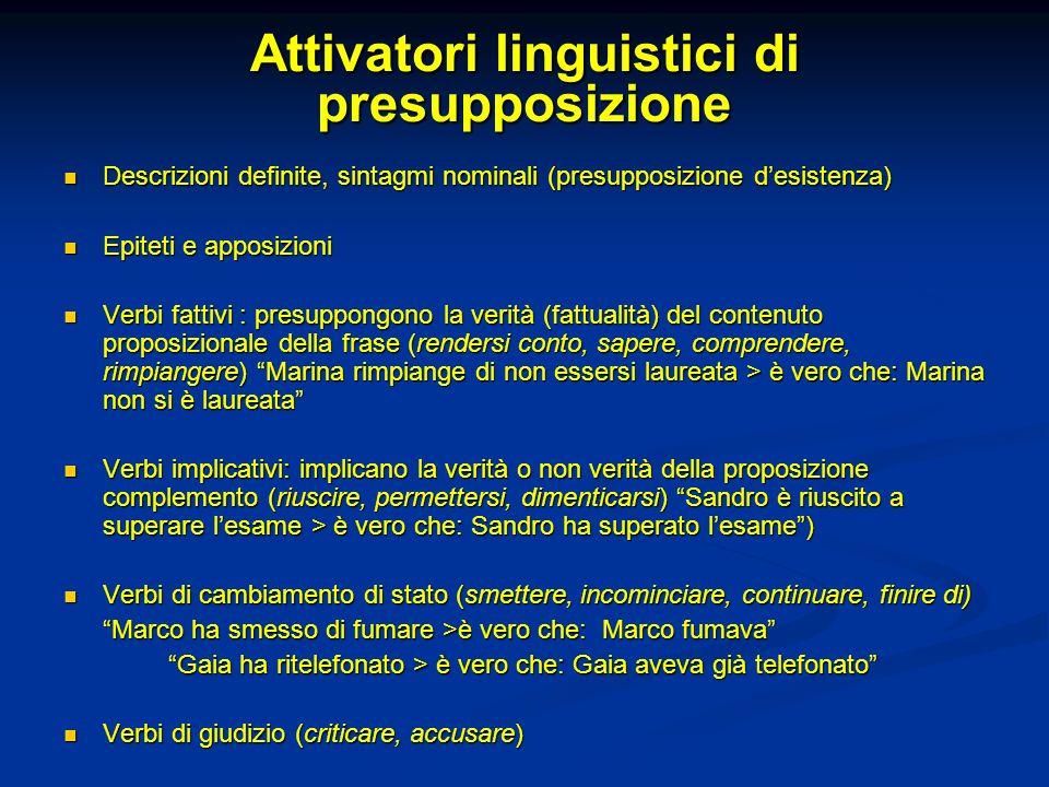 Attivatori linguistici di presupposizione Descrizioni definite, sintagmi nominali (presupposizione desistenza) Descrizioni definite, sintagmi nominali
