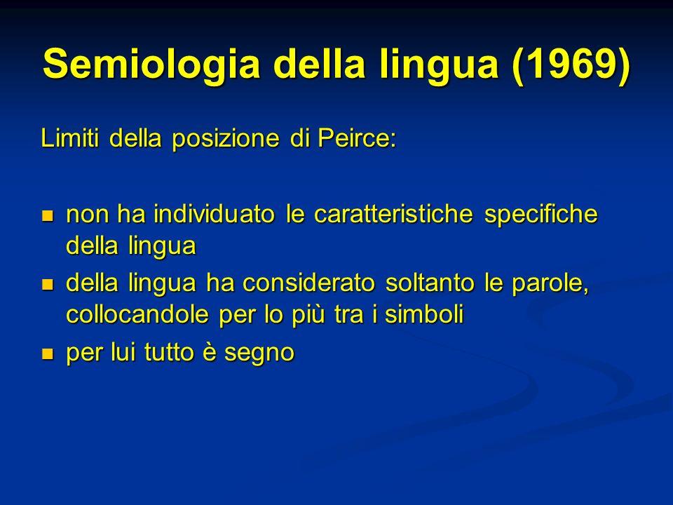 Semiologia della lingua (1969) Limiti della posizione di Peirce: non ha individuato le caratteristiche specifiche della lingua non ha individuato le c
