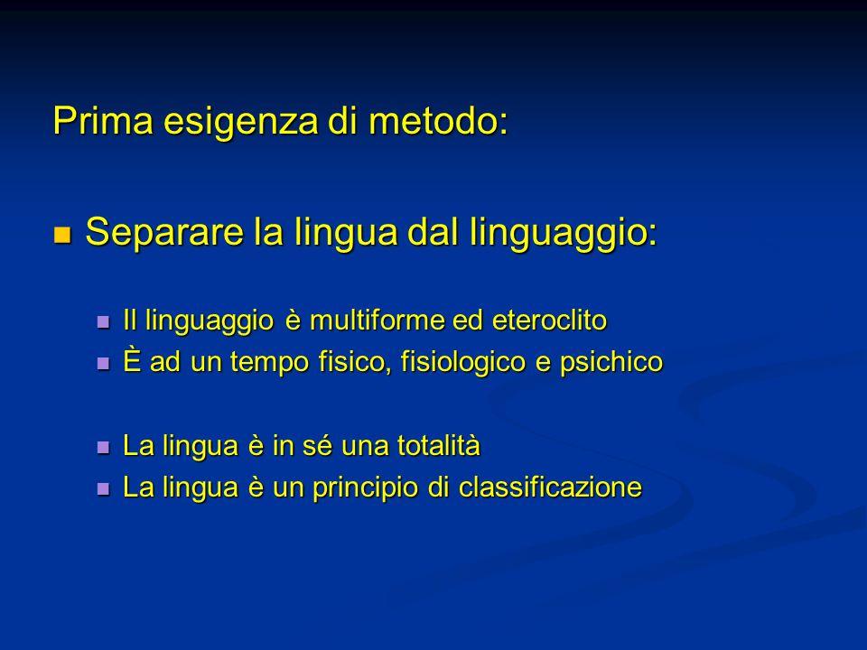 Prima esigenza di metodo: Separare la lingua dal linguaggio: Separare la lingua dal linguaggio: Il linguaggio è multiforme ed eteroclito Il linguaggio