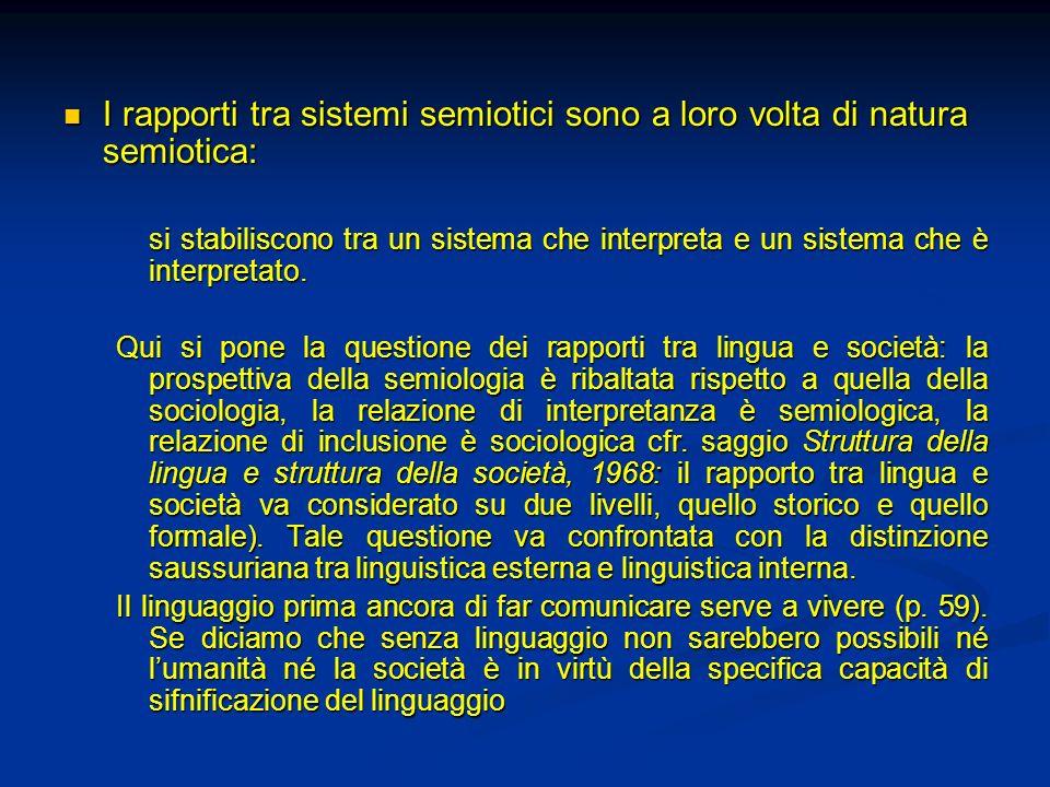 I rapporti tra sistemi semiotici sono a loro volta di natura semiotica: I rapporti tra sistemi semiotici sono a loro volta di natura semiotica: si sta