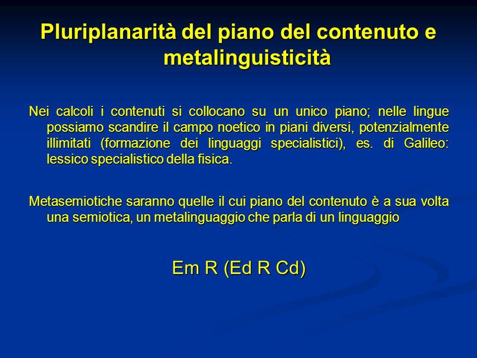 Pluriplanarità del piano del contenuto e metalinguisticità Nei calcoli i contenuti si collocano su un unico piano; nelle lingue possiamo scandire il c