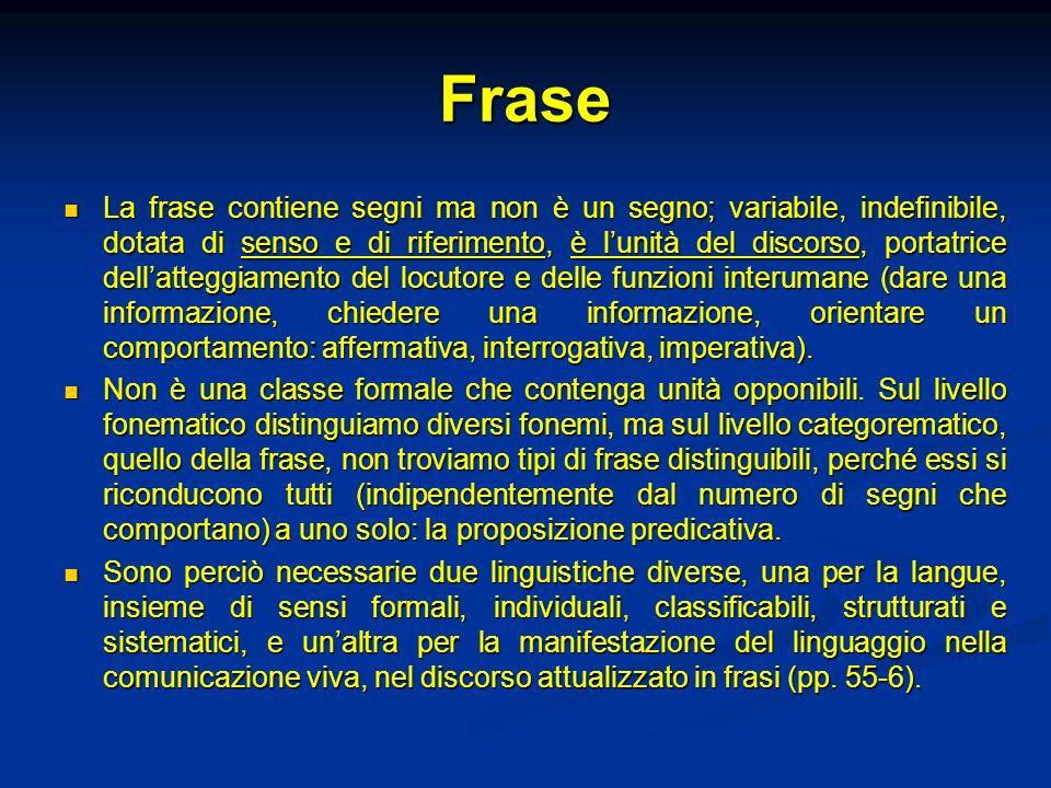 Frase La frase contiene segni ma non è un segno; variabile, indefinibile, dotata di senso e di riferimento, è lunità del discorso, portatrice dellatte