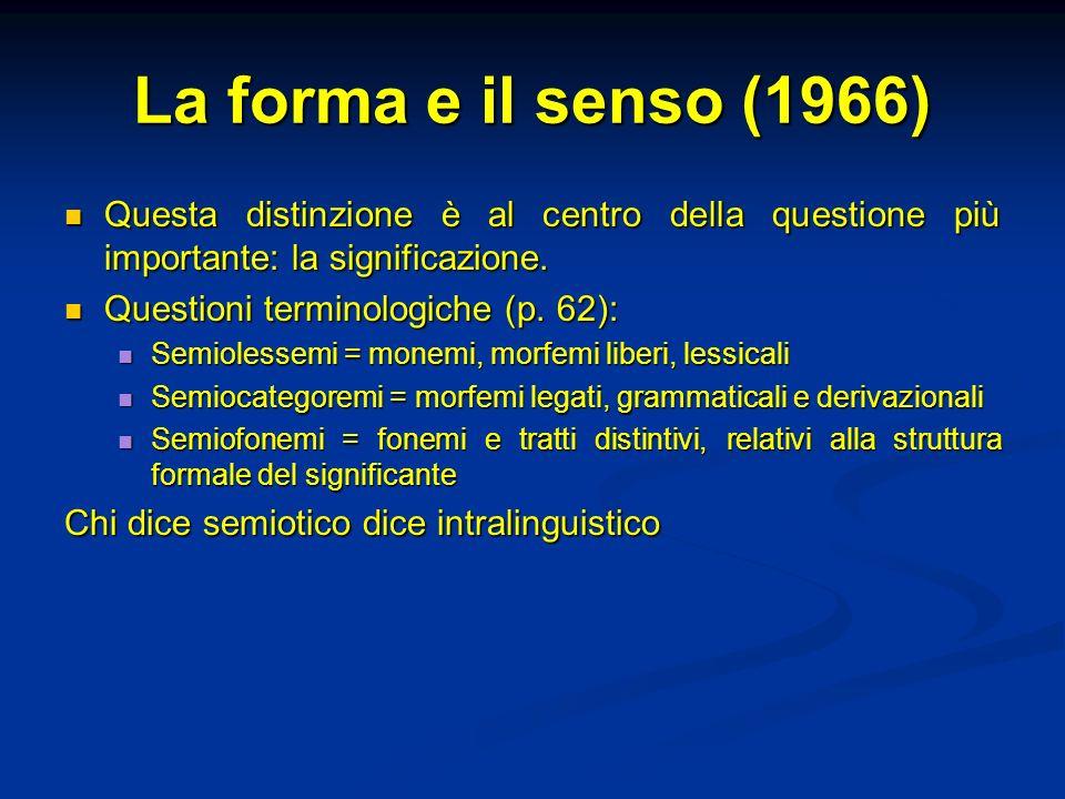 La forma e il senso (1966) Questa distinzione è al centro della questione più importante: la significazione. Questa distinzione è al centro della ques