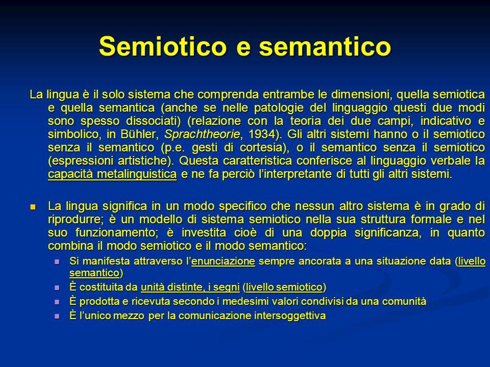 Semiotico e semantico La lingua è il solo sistema che comprenda entrambe le dimensioni, quella semiotica e quella semantica (anche se nelle patologie